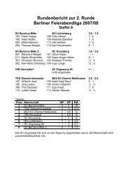 Rundenbericht zur 2. Runde Berliner Feierabendliga 2007/08 Staffel A
