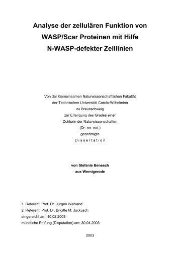 Analyse der zellulären Funktion von WASP/Scar Proteinen mit Hilfe ...