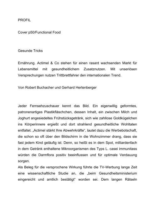 PROFIL Cover p50/Functional Food Gesunde Tricks Ernährung ...