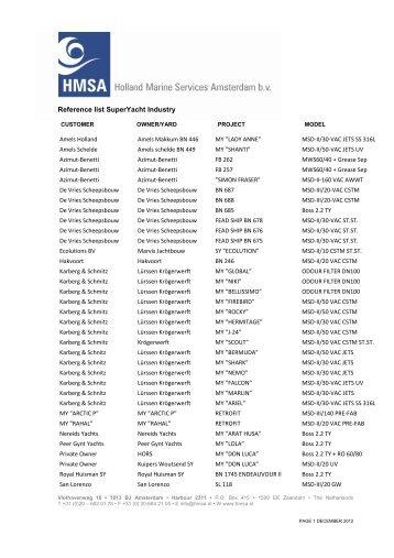 Reference list SuperYacht Industry - HMSA Holland Marine Services ...