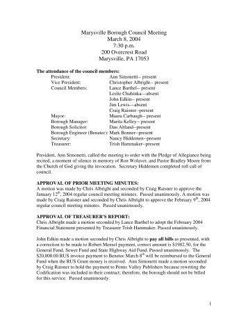 Council_2004_03_08 - Marysville Borough