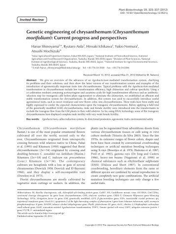 (Chrysanthemum morifolium): Current progress and ... - Wdc-jp.biz