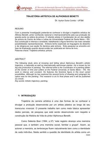 TRAJETÓRIA ARTÍSTICA DE ALPHONSUS BENETTI 1 ... - Anpap