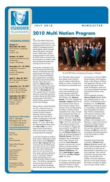 2010 Multi Nation Program - Eisenhower Fellowships
