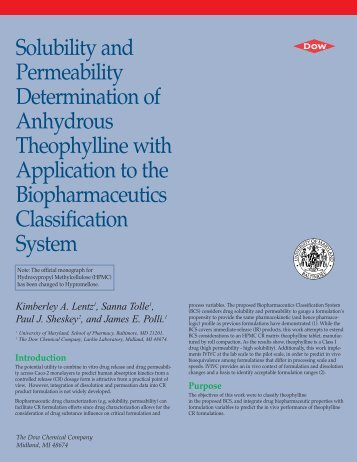 Solubility and Permeability Determination of Anhydrous - The Dow ...