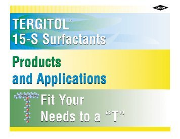 TERGITOL 15-S Nonionic Surfactants - The Dow Chemical Company