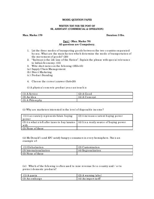 MODEL QUESTION PAPER WRITTEN TEST FOR THE POST OF SR