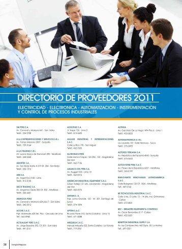 DIRECTORIO DE PROVEEDORES 2O11 - Energia y Negocios Perú