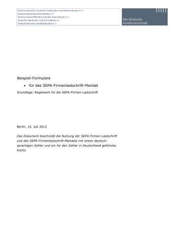 Bestandteile und Muster einer Sepa Firmen Lastschrift