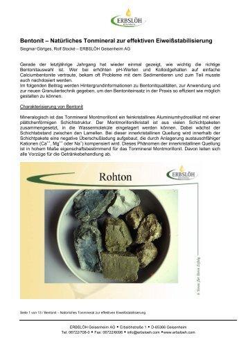 Bentonit – Natürliches Tonmineral zur effektiven ... - Erbslöh