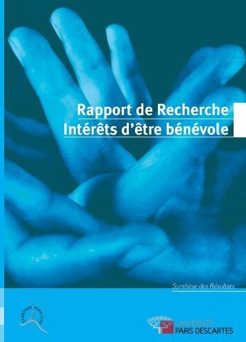 Rapport de Recherche Intérêts d'être bénévole - CNRS