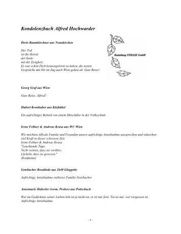 Kondolenzbuch Alfred Hochwarder - Bestattung STRANZ Grafenbach