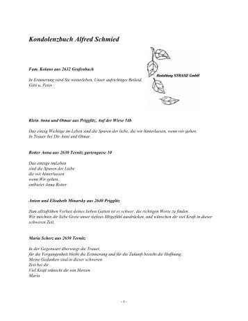 Kondolenzbuch Alfred Schmied - Bestattung STRANZ Grafenbach