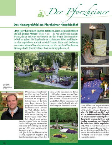 """Das Kindergrabfeld am Pforzheimer Hauptfriedhof """"Der Herr hat ..."""