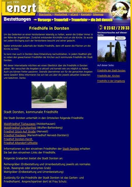 Friedhöfe in Dorsten - Bestattungen Lenert