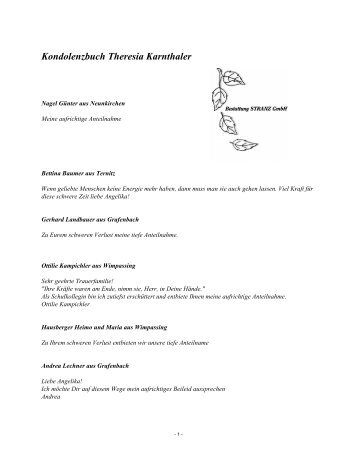 Kondolenzbuch Theresia Karnthaler - Bestattung STRANZ Grafenbach