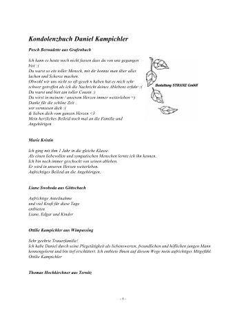 Kondolenzbuch Daniel Kampichler - Bestattung STRANZ Grafenbach