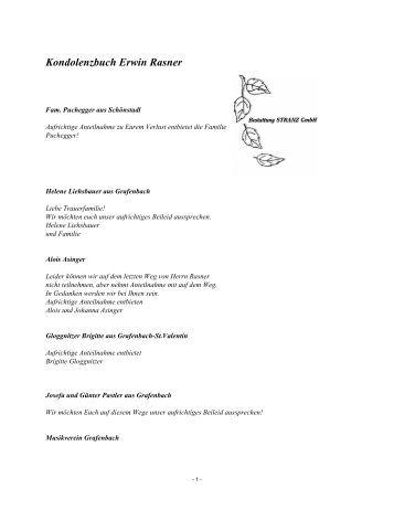Kondolenzbuch Erwin Rasner - Bestattung STRANZ Grafenbach