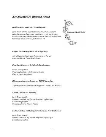 Kondolenzbuch Richard Posch - Bestattung STRANZ Grafenbach