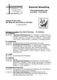 Wochenmitteilung - Katholische Kirche in Wesseling
