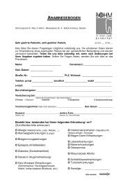 ANAMNESEBOGEN - von Dr. med. dent. Marc O. Böhm