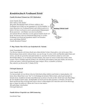 Kondolenzbuch Ferdinand Zeiski - Bestattung STRANZ Grafenbach