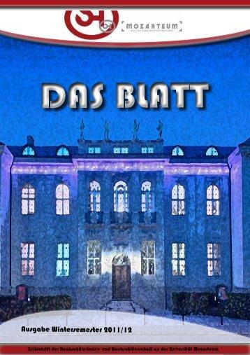 Das BLATT - Wintersemester 2011 / 12 - ÖH Mozarteum