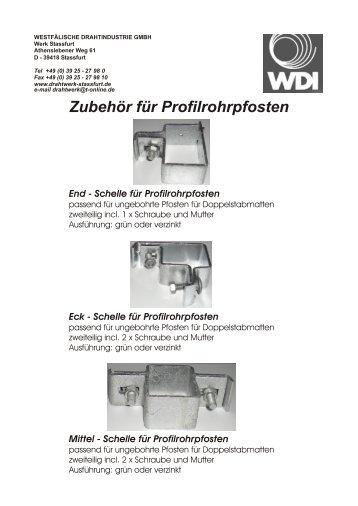 Zubehör für Profilrohrpfosten - Drahtwerk Stassfurt