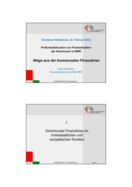 Wege aus der kommunalen Finanzkrise I ... - Stadt Dorsten