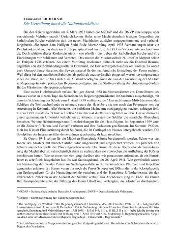 Die Vertreibung durch die Nationalsozialisten - Maristen Patres ...