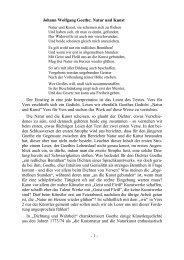 Johann Wolfgang Goethe: Natur und Kunst Der Einstieg ... - MPG Trier