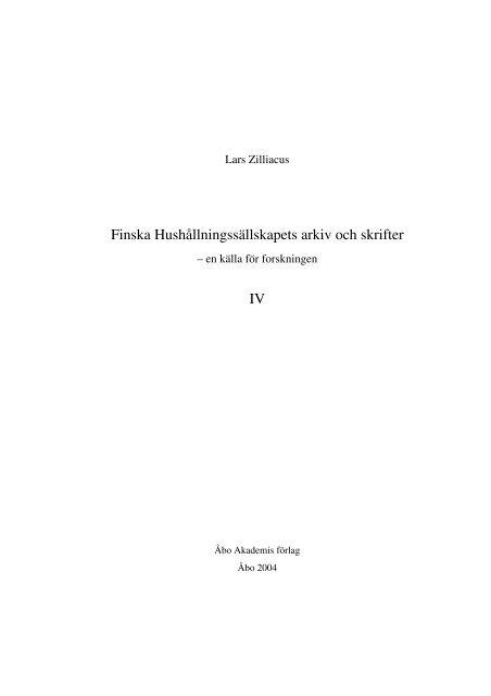 Finska Hushållningssällskapets arkiv och skrifter - Doria