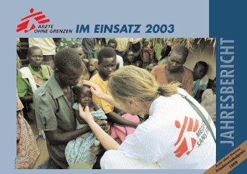 einsatz 2003 - Ärzte ohne Grenzen