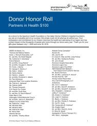 Donor Honor Roll - Spectrum Health Foundation