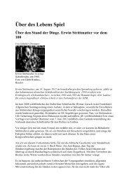 Über des Lebens Spiel Über den Stand der Dinge. Erwin Strittmatter ...