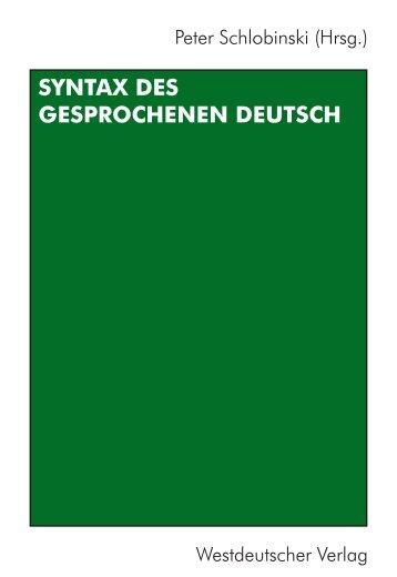 Syntax des gesprochenen Deutsch - mediensprache.net