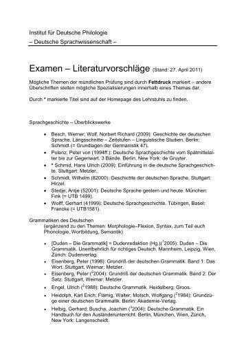 Literaturvorschläge (Stand: Februar 2011) - Germanistik