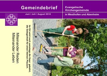 Juni bis August - Evangelische Kirchengemeinde Westhofen und ...