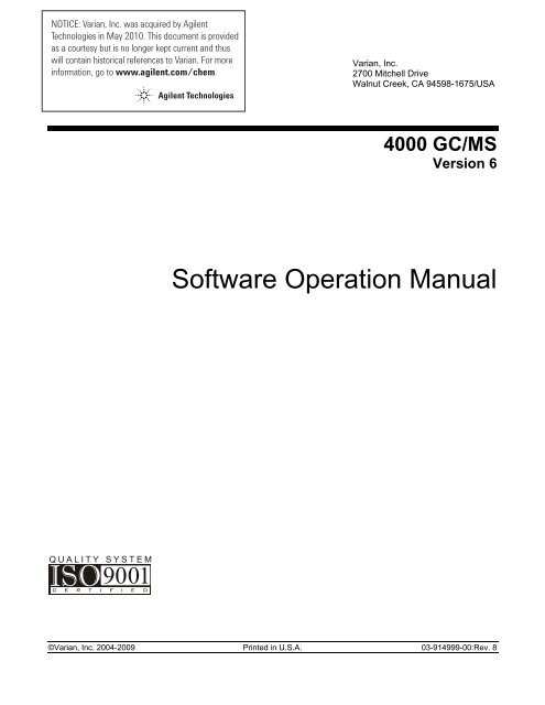 4000 GC MS Software Operation Manual Agilent Technologies