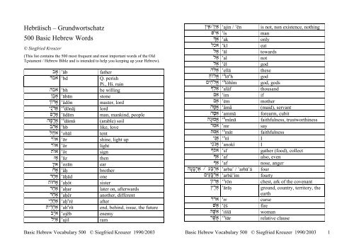 Hebräisch – Grundwortschatz 500 Basic Hebrew Words