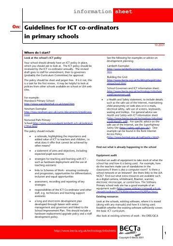 Guidelines for ICT coJordinators in primary schools - Homepages ...