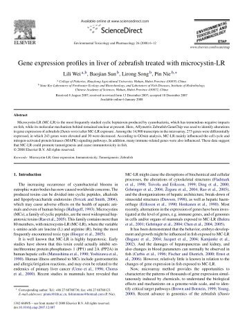 Gene expression profiles in liver of zebrafish treated with microcystin ...