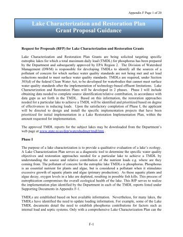 Lake Characterization and Restoration Plan Grant Proposal Guidance