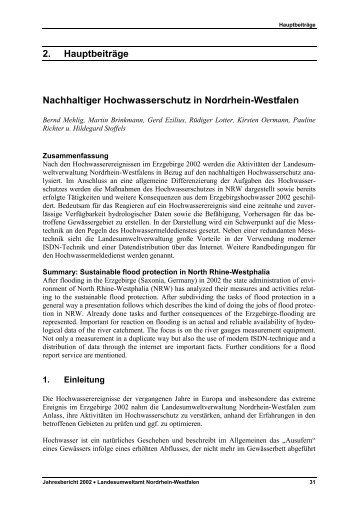 Nachhaltiger Hochwasserschutz in Nordrhein ... - LANUV NRW