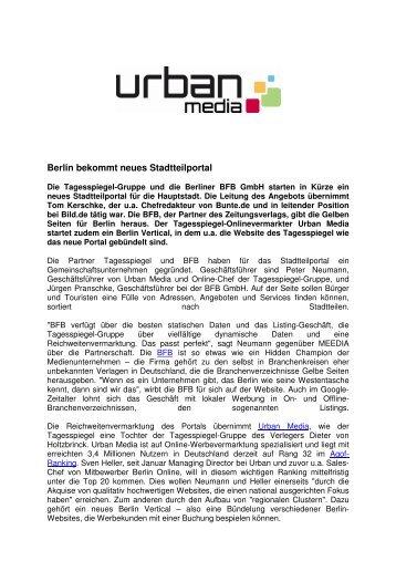 Berlin bekommt neues Stadtteilportal - Urban Media GmbH