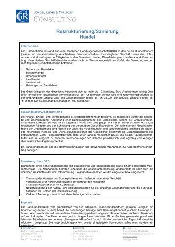 Restrukturierung/Sanierung Handel - Gördes, Rhöse & Collegen ...
