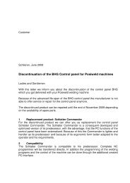 Discontinuation of the BHG Control panel for Posiweld ... - Schlatter
