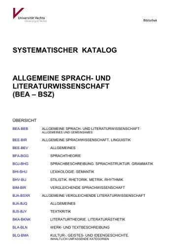 Systematik Allgemeine Sprach- und Literaturwissenschaft