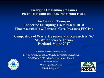 Fate and Transport of Endocrine Disrupting Chemicals ... - NEIWPCC