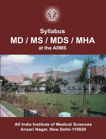 Syllabus - md ms mds mha - All India Institute of Medical Sciences